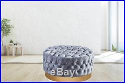 Upholstered Velvet Ottoman Storage Stool Footstool Dressing Table Chair Pouffe