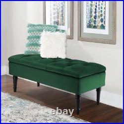 Upholstered Velvet Ottoman Window Seat Stool Footstool Bench Toy Box Storage NEW