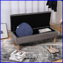 Upholstered Window Seat Storage Bench Ottoman Bed End Chaise Lounge 2 Seater