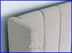 Upholstered Wing Headboard Ottoman Storage Gas Lift Bed Double & King Size