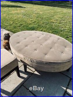 Upholstered velvet Ottoman without storage