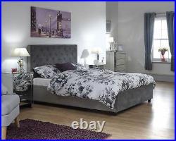 Utah 4ft 6 Double Soft Velvet Chenille Grey lift up storage bed Ottoman