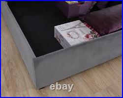 Utah Grey Lift Up Fabric Ottoman Bed- Solid Storage Base- 4ft6 Double & 5ft King
