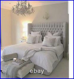 VELVET WINGED BED FRAME Chesterfield Upholstered Single, Double, King size UK