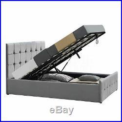 Valentina Double Ottoman Bed 4ft6 Frame Lift Storage Fabric Light Grey Velvet