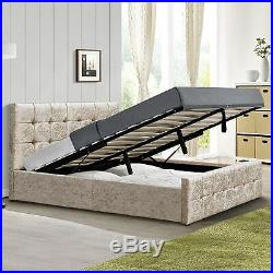 Valentina Double Ottoman Bed 4ft6 Frame Storage Fabric Crushed Velvet Champagne