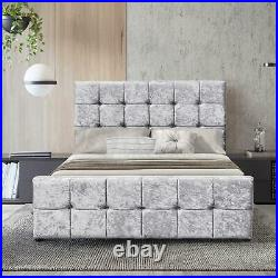 Valentina Double Ottoman Bed Frame 4FT6 Storage Fabric Crushed Velvet Silver New