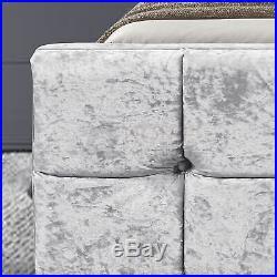 Valentina King Size Ottoman Bed 5ft Frame Storage Fabric Crushed Velvet Silver