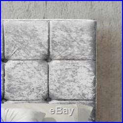 Valentina Ottoman Bed 5ft King Size Frame Gas Lift Storage Crushed Velvet Silver