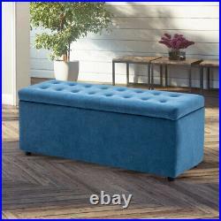 Velvet Button Storage Footstool Ottoman Pouffe Stool Chair Upholstered Bench Box