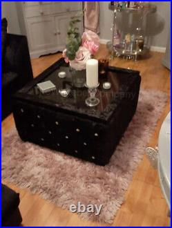 Velvet Chesterfield Upholstered Glass Top Coffee Table With Storage