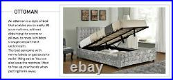 Velvet Crush Panel Beds, Ottoman Storage Option, Single, Double, King Size