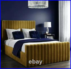 Velvet Double Bed Ottoman Side Storage Mustard Yellow Quilted Headboard