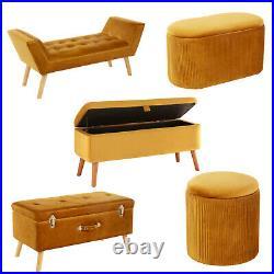 Velvet Mustard Ottoman Storage Bedding Box Pouffe Stool Footstool And Bench