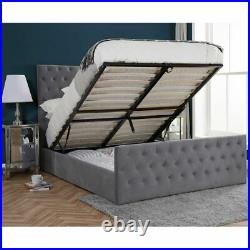 Velvet Ottoman Marquis Fabric Storage Bed with 3 Size and 4 Mattress Options