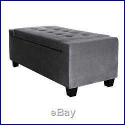 Velvet Ottoman Upholstered Stool Storage Bench Organiser Clothes Bedroom Seat UK