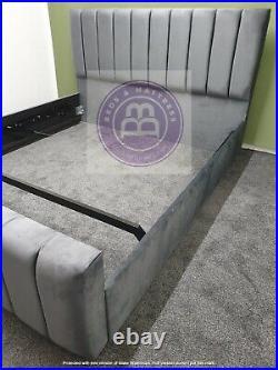 Velvet Panel Bed Slats Double King Bespoke Sale Gaslift Ottoman Storage Options