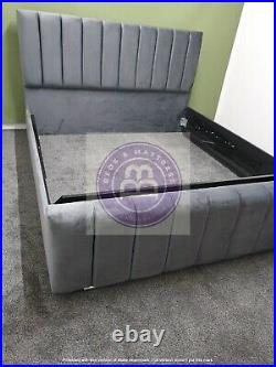 Velvet Panel Bed With Free Gaslift Ottoman Storage Inc Bespoke Sale King Double