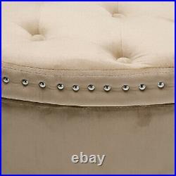 Velvet Upholstered Bed End Bench Storage Ottoman Blanket Box Hallway Window Seat