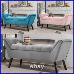 Velvet Upholstered Bed End Bench Storage Ottoman Hallway Window Seat Black Legs