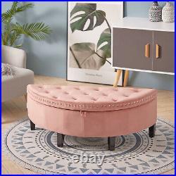 Velvet Upholstered Bed End Ottoman Storage Lounge Sofa Bench Hallway Window Seat