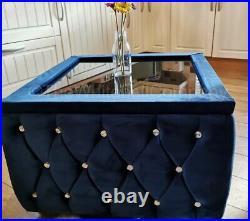 Velvet Upholstered Chesterfield Glass Top Coffee Table