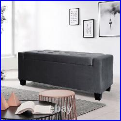 Velvet Upholstered Ottoman Storage Box Window Seat Entryway Shoes Change Bench
