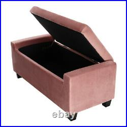 Velvet Upholstered Ottoman Storage Window Seat Entry Shoes Change Bench Toys Box