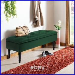 Velvet Upholstered Storage Bench Ottoman Buttoned 2-3 Seater Hallway Window Seat