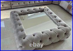Velvet/fabric Upholstered Footstool Glass Coffee Table Plush Grey-90x90cm Uk