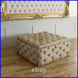 Velvet/fabric Upholstered Ottoman Storage Box Stool-made In Uk