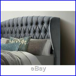 Velvet grey ottoman fabric upholstered buttoned storage gas lift up bed frame