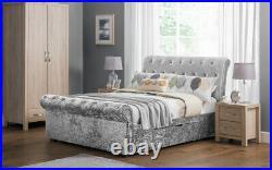 Verona Silver Crush Drawer Storage Sleigh Bed Lilac or Silver by Julian Bowen