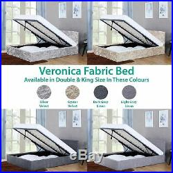 Veronica Double King Ottoman Bed 4ft6 5ft Storage Lift Modern Bed Velvet Fabric