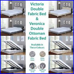 Veronica Victoria Double Bed 4ft6 Ottoman Upholstered Fabric Bedroom Storage
