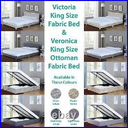Victoria Veronica 5FT King Size Bed Frame Upholstered Fabric Ottoman Storage New