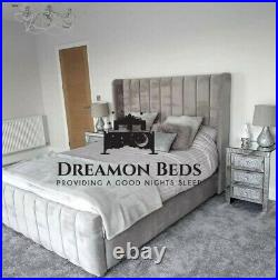 Vienna Wingback Bed Frame 4'6 Double 5ft King Size 6ft Super King Plush Crushed