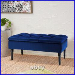Vintage Storage Bench Fabric Upholstered Ottoman Window Seat Bed End Stool 100cm