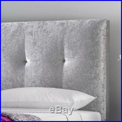 Walkworth Silver Crushed Velvet Fabric Ottoman Storage Bed with 3 Size Options