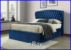 Winchester Blue Velvet Fabric Ottoman Storage Bed 4ft6 Double and 5ft King Size