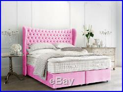 Wing Back Beds Divan Ottoman Gas Lift Storage Beds Winged Headboards Velvet Beds