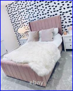 Wing back panel upholstered bed with ottoman gas lift storage option