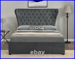 Wingback Chesterfield Upholstered Ottoman Gas Lift Storage Bed Frame Plush King