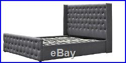 Wingback Crushed Velvet Or Linen Ottoman Storage Bed 4ft6 Double & 5ft King Size