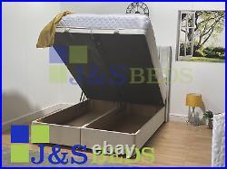 Wingback Ottoman Bed gaslift Bed Storage Soft Plush Velvet Gas Lift Frame Base
