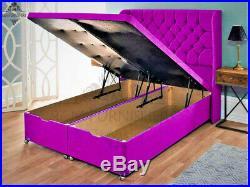 Winged Bed Ottoman Storage Base Wing Headboard Divan Storage Bed Luxury Velvet