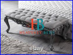 Winged bed frame upholstered double king wingback -scroll sleigh french Crown