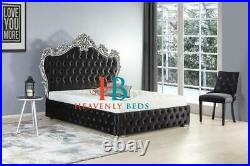 Winged bed frame upholstered double king wingback scroll sleigh french crown