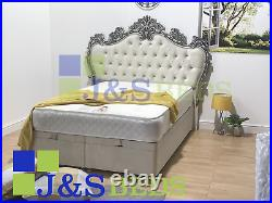 Winged bed frame upholstered double king wingback scroll sleigh french ottoman