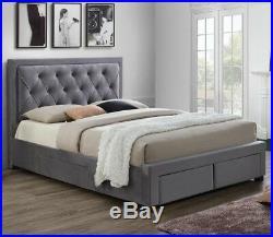 Woodbury Velvet Fabric Bed with Storage Drawers Black Velvet or Grey Sizes